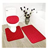Luxury Home Collection 3 Piece Stone Embossed Solid Color Memory Foam Soft Bathroom Rug Set Non-Slip with Rubber Backing (Red
