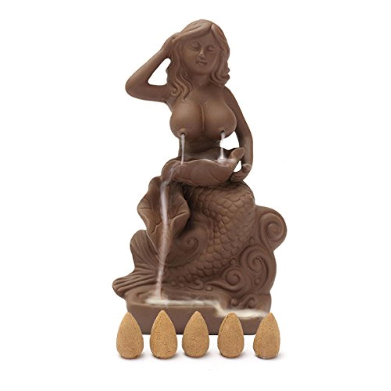コーン小包糞(Mermaid) - Jeteven Mermaid Ceramic Backflow Incense Burner + 5 Incense Cones Beauty Maid Incense Burner Holder...