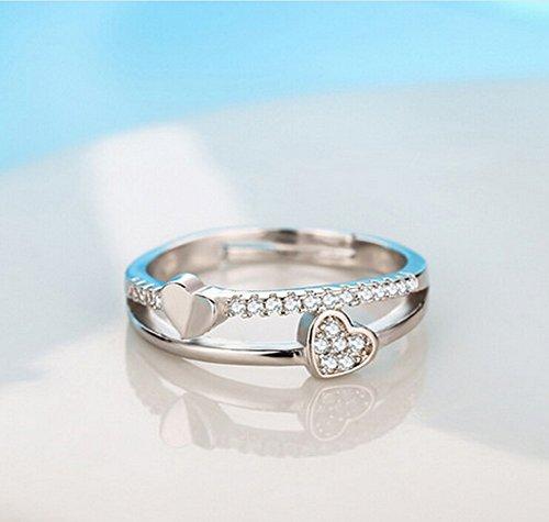 ec341ab95d8349 Outflower 指輪 リング レディース ステンレス 人気 カップル フリーサイズ オープンリング 安い 婚約指輪 プレゼント 母の日 キラキラ  贈り物 調節可能 ハート形 合金