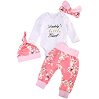 Emmababy Baby Girls' Daddy's Little Floral Pants Hat Outfits Clothes Set