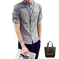 (アーバンセレクト) Urban Select シャツ メンズ おしゃれ 半袖シャツ 半袖 七分袖 無地 棉麻 カジュアル 17smt136(XXL)gy