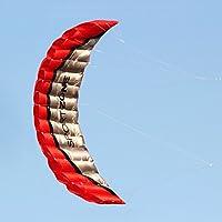 レッドデュアルラインParafoil Kite withflyingツールKitesurfレインボー布ファブリックKites Flying的上3風Tookオフ、点灯、適切なSeaside Flying。