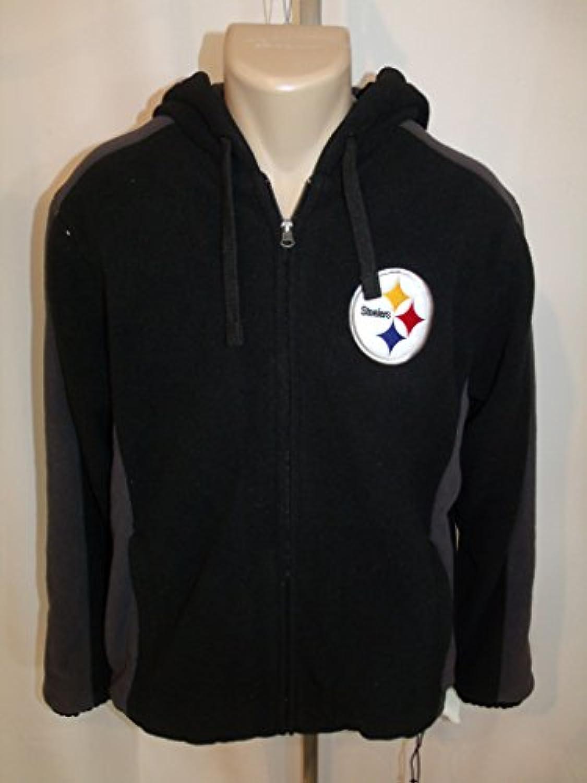 ピッツバーグスティーラーズ刺繍NFLフリースブラックジャケットコートMedium