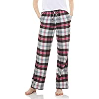 CQR Women's Flannel Pyjama Long Pants 100% Cotton Nightwear Pajama Pants Lounge Pants