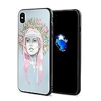 女性と花のパステル水彩 IphoneXケース アイフォンX ケース 携帯カバー スマホケース アイホンX 衝撃吸収 おしゃれ TPU保護カバー 軽量