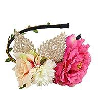 Kingree 多色・綺麗な花付けるヘアピン ヘアーフープ ヘアコーム 弾力伸縮性 ヨーロッパとアメリカタイプ 可愛い 手作業品 Hairhoop (Beige)