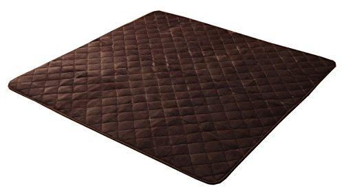 イケヒコ こたつ敷き布団 キルトラグ ラグ カーペット 2畳 無地 フランネル 『17フランIT 抗菌防臭』 ブラウン 約190×190cm(ホットカーペット対応) ♯9808495