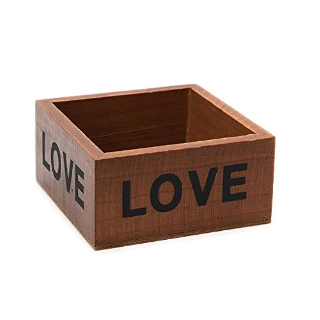 失礼な感嘆符気楽なpeachshop正方形木製多肉植物花ベッドポットボックスガーデンプランターホームストレージ ブラウン