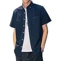Aroniko シャツ メンズ 半袖 オックスフォードシャツ 夏服 無地 綿 100% カジュアル 薄手 オシャレ 大きいサイズ ネイビー XXXL