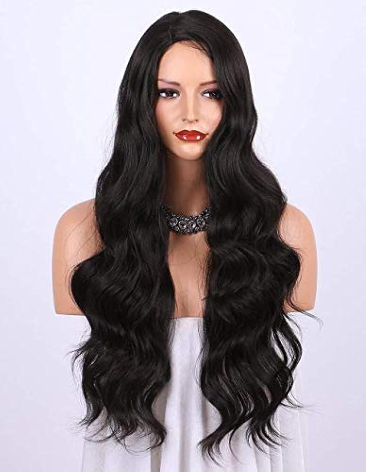 SRY-Wigファッション ファッションロングヘアレディウィッグヨーロッパとアメリカのファッションかつら長い巻き毛の化学繊維ウィッグで女性のビッグウェーブブラック (Color : Black)