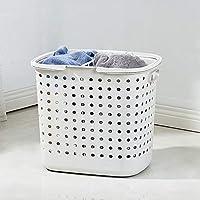 DCAH ストレージバスケットハンパー衣類ストレージバスケットプラスチックランドリーバスケットバスルームバケットホーム Laundry basket (色 : 白)