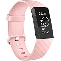 Tracca Replacement Strap Bands for Fitbit Charge 3 Wristband Spare Silicone Watchband (Light Pink, Small)