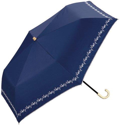 w.p.c晴雨兼用折りたたみ傘★遮光プチフラワー刺繍 (ネイビー)