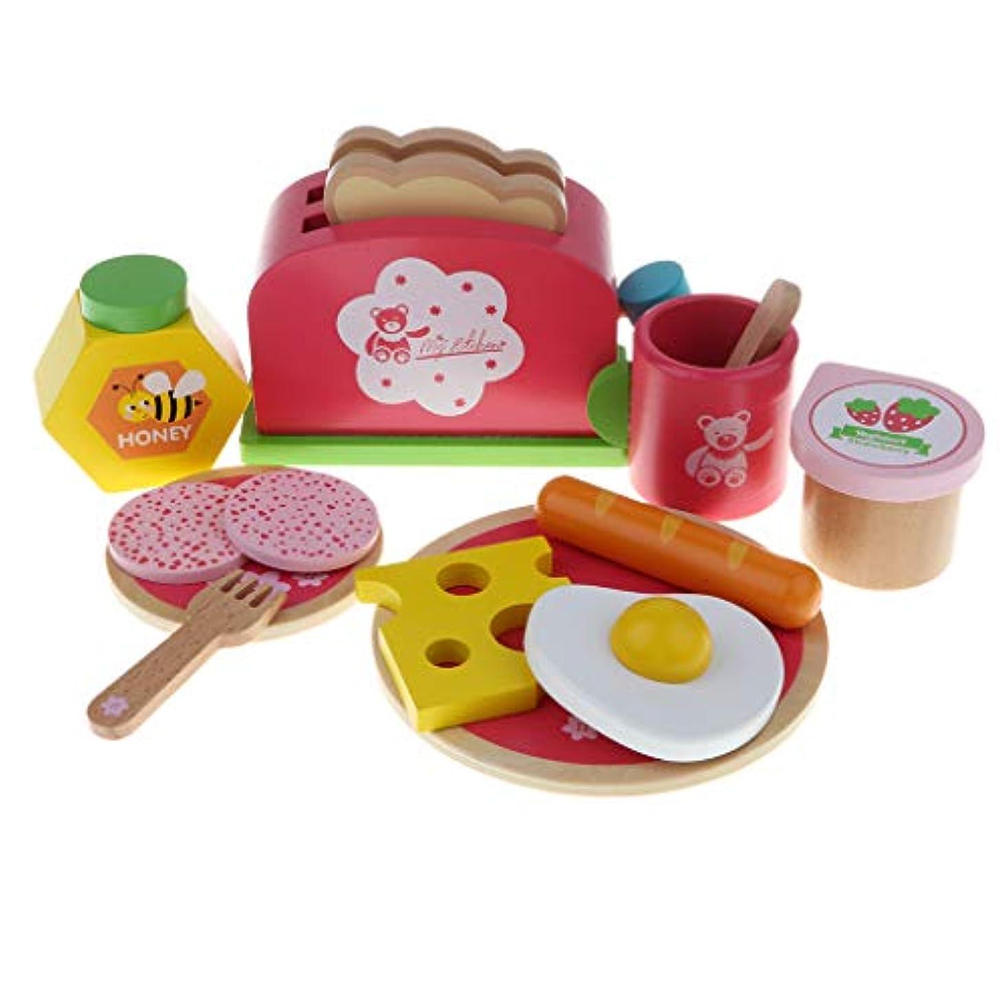 行き当たりばったり赤ちゃん気楽なToygogo 木製 ドールハウス装飾 キッチン 朝食セット 食器 調理器具 食べ物模型 おままごと おもちゃ