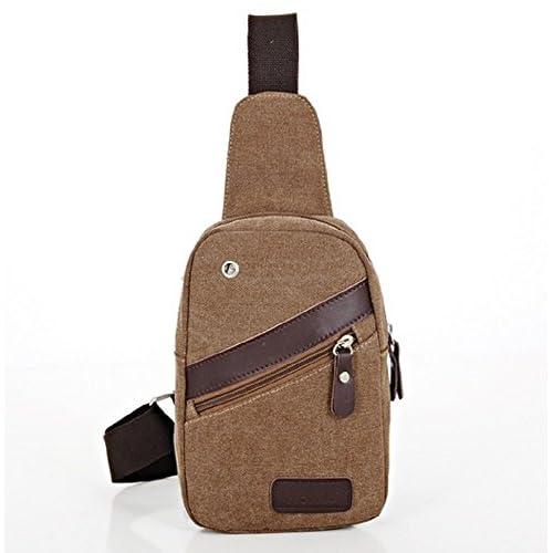スタイリッシュ ボディ バッグ キャンバス 帆布 斜め掛け バック ブレスレット セット BB-HM-301 (ブラウン)