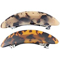 Baosity 2x Womens Glittering Leopard Large Barrettes French Acetate Hair Clip