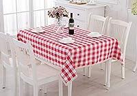 テーブルクロス、モダンな農村ヨーロッパのシンプルな格子コーヒーテーブルテーブルクロス長方形の赤 (サイズ さいず : 160x160cm)