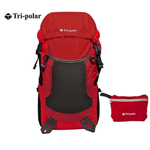 tri-polarアウトドアピクニックキャンプ旅行バッグ35l折りたたみストレージ超軽量バックパック レッド
