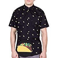 Visive Mens Short Sleeve Casual Novelty Printed Button Down Shirt