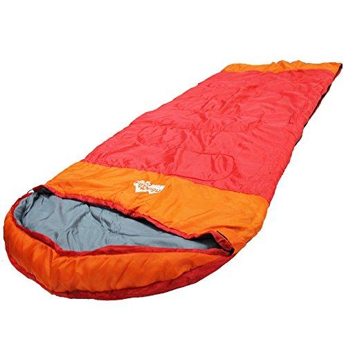 寝袋 封筒型 キングサイズ ワイド ビッグ シュラフ 【最低使用温度 ±0℃ 1500】コンパクト 収納袋付 丸洗いOK (レッド)
