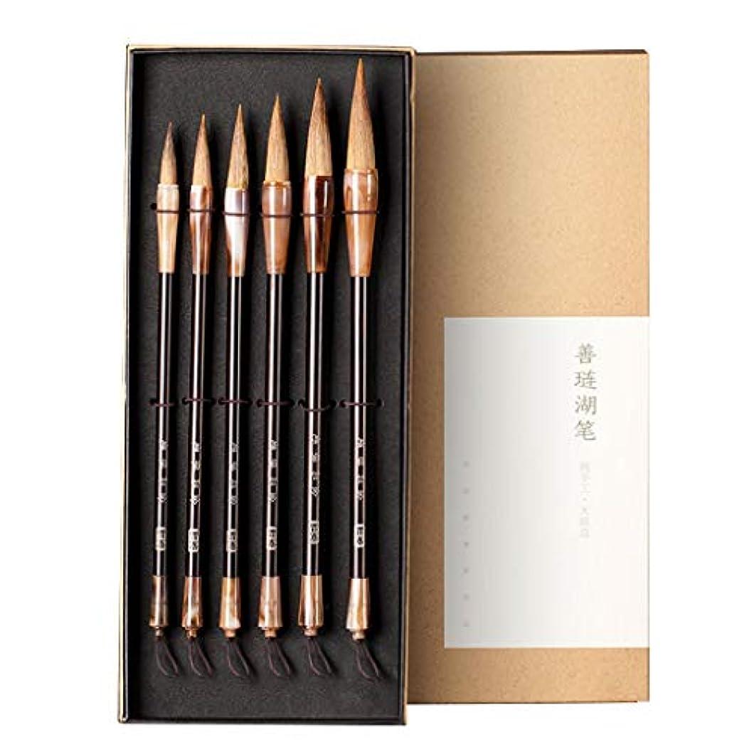 骨髄地中海故意の6PCS繁体字中国語ウルフのヘアブラシペン筆セット書道の練習筆