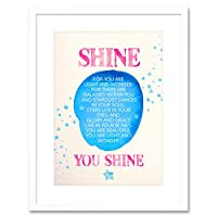 Quote Shine Kids子息子愛ピンク星12x 16インチフレーム印刷f12X 12126 12.01 x 16.03 inc - 30.5 x 40.7 cm F12X12126_WH