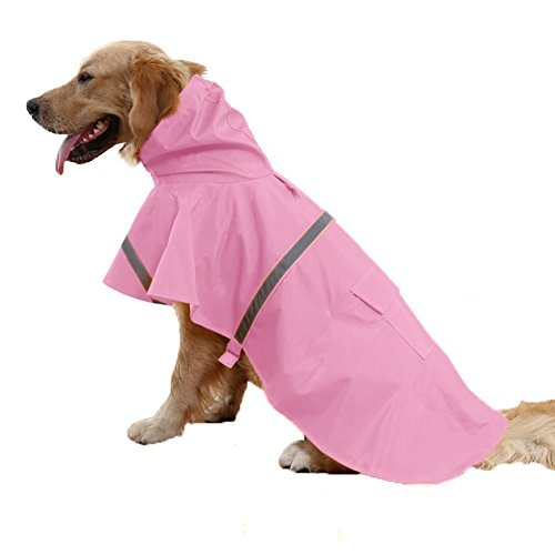 ALANSNOW 調整可能、水防止レーンコートは安全反射ストリップを含み、大型犬にも、小型犬にも最適です(ピンク) (L 胸囲:80-84cm, 背:51cm)