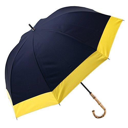 【Rose Blanc】100%完全遮光 日傘 晴雨兼用 レディース ミドルサイズ 55cm コンビ (ネイビー×イエロー)