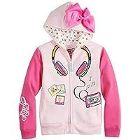 Jojo Siwa Girls Headphones 3D Bow Zip-up Hoodie Jacket Long Sleeve Hooded Sweatshirt - Pink