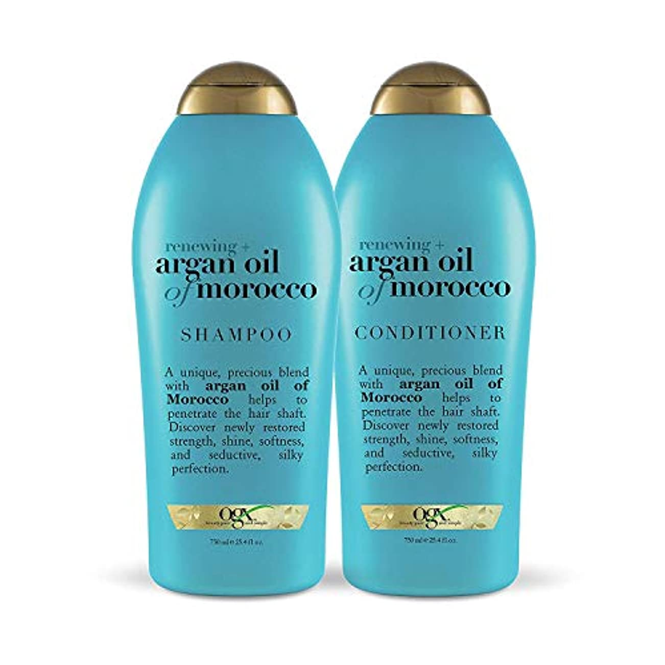 OGX Renewing Argan Oil of Morocco Shampoo & Conditioner 1セット (25.4 fl. Oz.) [海外直送品 ]