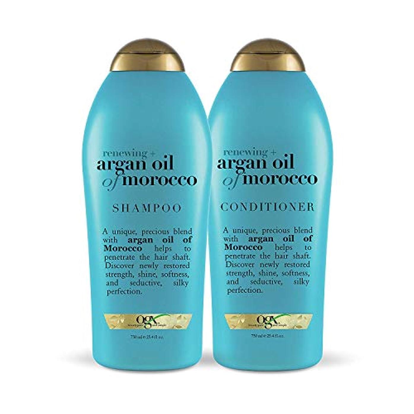兵士穏やかな偶然のOGX Renewing Argan Oil of Morocco Shampoo & Conditioner 1セット (25.4 fl. Oz.) [海外直送品 ]