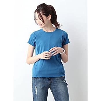 ANGELIEBE エンジェリーベ 産後 授乳服 Tシャツ 綿混 フライス 半袖 クルーネック フリー ブルー 30093400