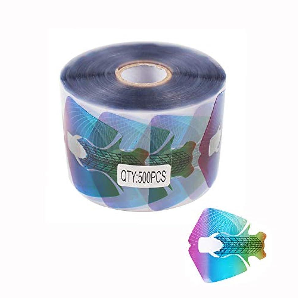 万一に備えて治すカポックFingerAngel 500枚 透明なPVC虹色 使い捨てクレアネイルフォーム チェックネイルアートツール ネイルサロン ネイル フォーム