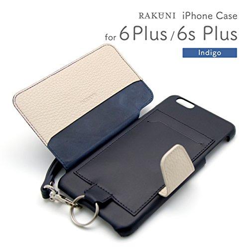 『RAKUNI (ラクニ) iPhone 6/6s Plus用 本革 背面ポケット 財布型 ストラップ付き レザーケース(スタンド機能)(iPhone 6/6s Plus用) (インディゴ)』の2枚目の画像