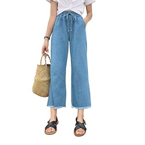 [RSWHYY] レディース デニム ワイドパンツ サイド スリット 9分丈 フリンジ リボン付き 着痩せ ウエストゴム ストリート 着回し 快適 ブルー S