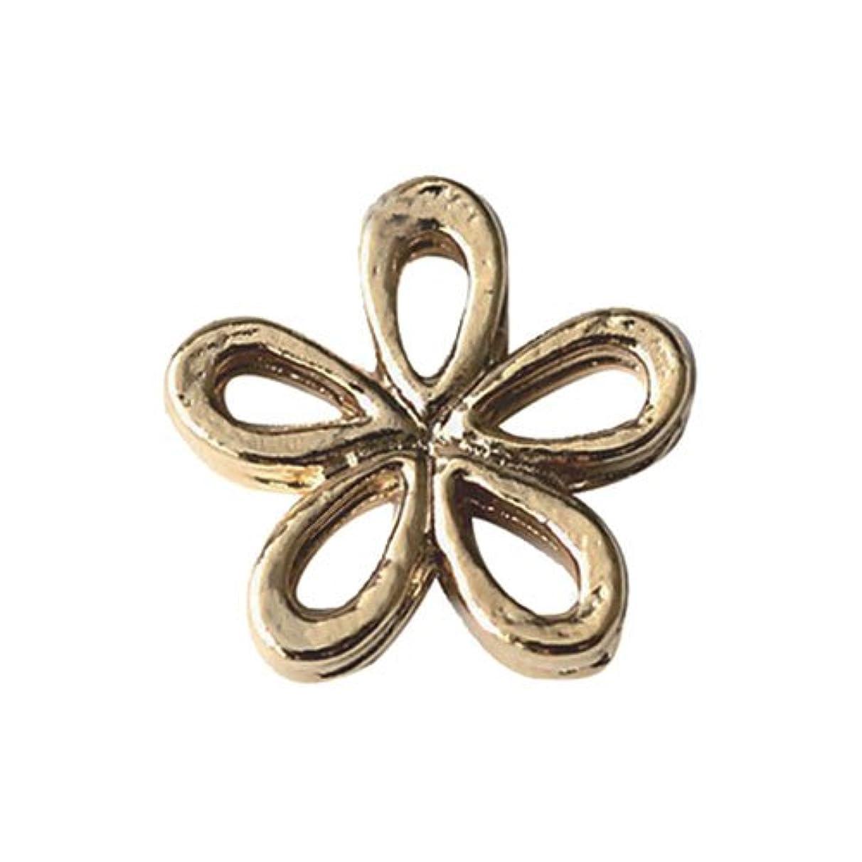 最小ファッション問い合わせプリティーネイル ネイルアートパーツ プレーンシャイニーフラワーS ゴールド 15個