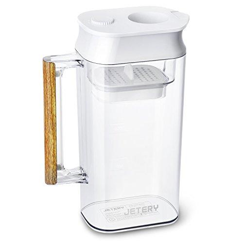 浄水 ポット JETERY 長い使用時間 速い濾過速度 炭素繊維フィルター 1.8Lホワイトメモ ポット型浄水器大容量 スタイリッシュ エントリーモデル