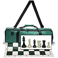 WE Games Premium Tournament Chess Set with Deluxe Green Canvas Bag, Super Weighted Staunton Chess Pieces - 4 Inch King by WE Games [並行輸入品]