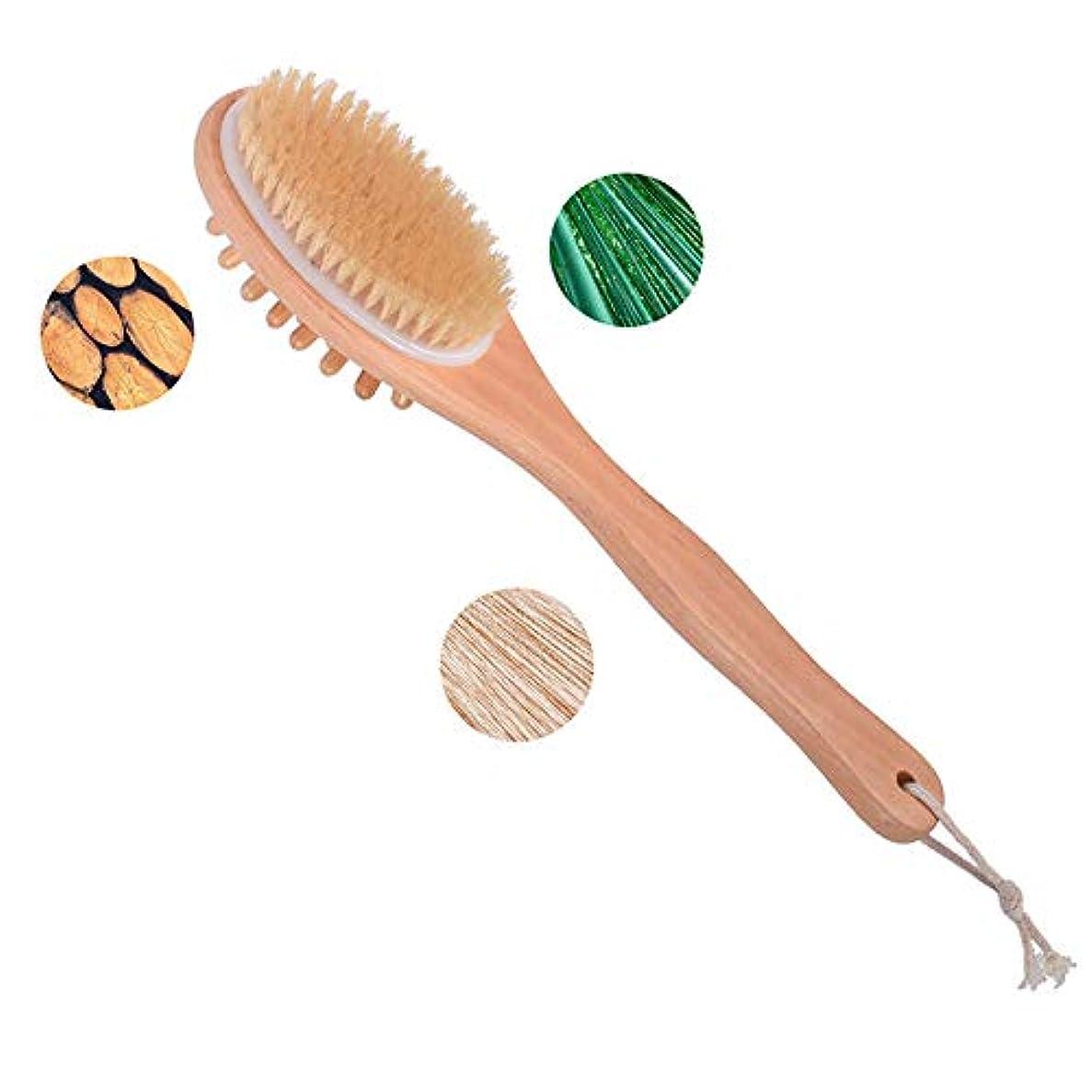 ウェイトレス高価なライラックバスブロッサムタケバスボディーブラシエクストラロングハンドル角質除去バックスクラバー効果的なバックブラシ剥離と肌セルライトブラシ