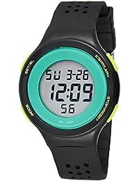 子供腕時計 キッズウオッチ 防水アップ キッズ腕時計 デジタル表示 アラーム ストップウオッチ 日付 曜日付き 5-15歳 ギフト ブラック+グリーン