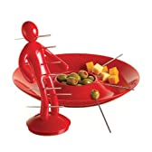 The EX 串(爪楊枝)10本&ホルダー&トレイセット レッド The Ex Skewer Set with Unique Red Holder and Tray Designed By Raffaele Iannello EXXTR