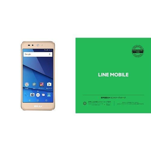 BLU(ブルー)GRAND X LTE SIMフリースマートフォン ゴールド 専用ケース付 日本正規代理店品 G0010JJ/GOL-38LINEモバイル 音声通話SIMエントリーパッケージ (ナノ/マイクロ/標準SIM)[カウントフリー・iPhone/Android共通・ドコモ対応]
