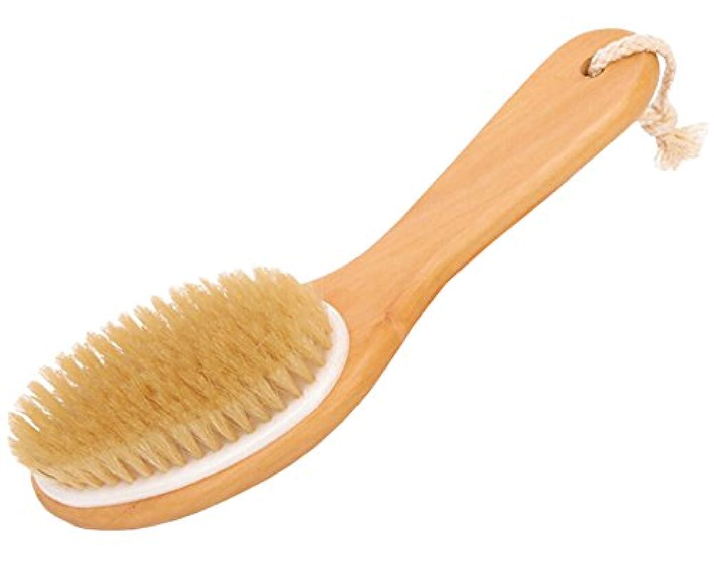 規制ペルセウスセンターFoucome ボディブラシ ロング マッサージ 豚毛100% 長柄 角質除去 美肌効果 背中 最高品質 天然材 お風呂グッズ 毛穴洗浄 血行促進 イェロー