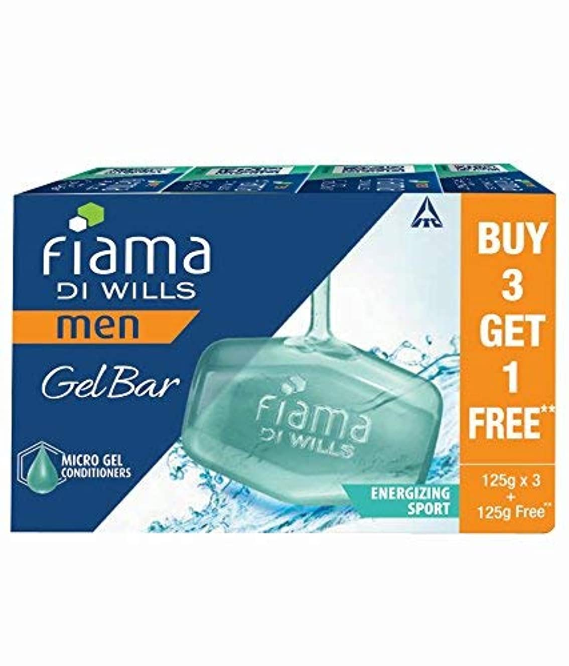 良性人道的眠っているFiama Di Wills Men Energizing Sport Gel Bar, 125g (Buy 3 Get 1 Free)