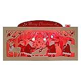 サンリオ クリスマスカード 洋風 ライト&メロディ ポップアップ 木製ボックスにそりサンタ S7321