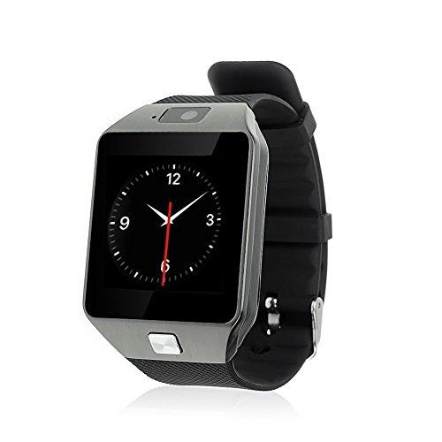 Antech Bluetooth smart watch DZ09-N スマート ウォッチ 1.44インチ 超薄型フルタッチ ウォッチ 多機能 時計 健康 カメラ搭載 ブルートゥース 腕時計 通話対応来電通知 sim/TF対応 ボイスレコーダー 着信通知 時計 (ブラック)