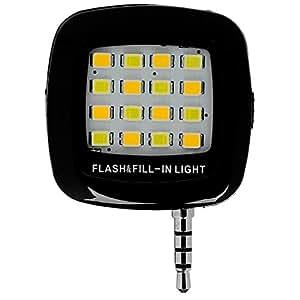 スマートフォン用LEDライト スマホ用LEDライト セルカライト 自撮り補助ライト スマートフォンカメラ用 LEDフラッシュライト iPhone,ipad,Galaxy等適用 (ブラック)