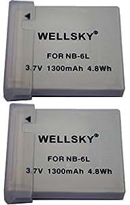 【WELLSKY】 『2個セット』 Canon キヤノン ● NB-6L / NB-6LH ● 互換バッテリー● 純正充電器で充電可能 残量表示可能 純正品と同じよう使用可能 ● PowerShot SX510 HS/ PowerShot SX170 IS /IXY 30S/PowerShot S95/IXY 31S/IXY 32S/PowerShot SX260 HS PowerShot D20 /PowerShot SX280 HS/PowerShot S120/ PowerShot S200/ PowerShot SX530 HS / PowerShot SX710 HS / PowerShot SX610 HS