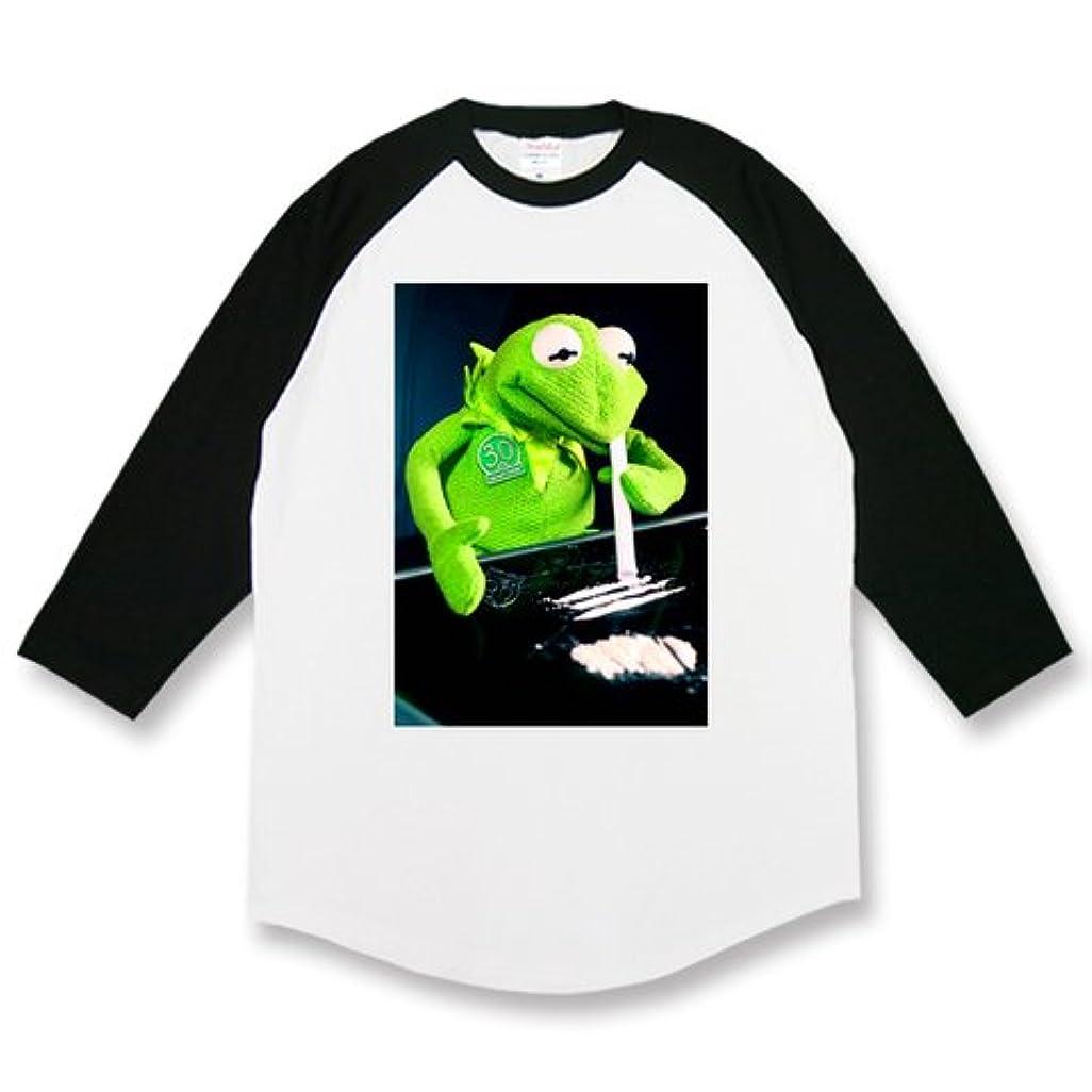関与する排泄するシャワー悪カーミット Kermit コカイン ドラッグ セクシー エロ 変態 パロディ メンズ レディース ユニセックス ラグラン七分丈Tシャツ