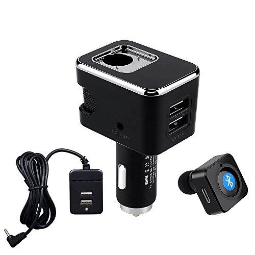 Yikoo Bluetooth(ブルートゥース)ヘッドセット+バック充電ケーブル4つのUSBポート車の充電器スマートフォン、iPad、Iphone6s / 7ダッシュカム、レーダー検出器などのための12Vの4V 5V 3.1Aスマートカー充電器